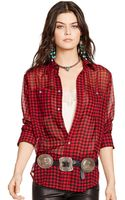 Polo Ralph Lauren Buffalo Plaid Silk Shirt - Lyst