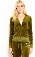 Juicy Couture Slim Fit Velour Rhinestone Logo Hoodie - Lyst