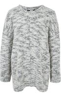 Helmut Lang Grey Boucle Knit Drop Shoulder Jumper - Lyst
