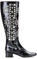 Saint Laurent Babies Studded Leather Boots - Lyst