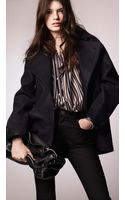Burberry Felted Wool Oversize Pea Coat - Lyst