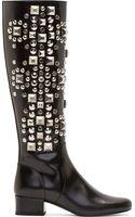 Saint Laurent Black Studded Leather Babies Boots - Lyst