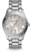 Michael Kors Midsize Silver Color Stainless Steel Layton Glitz Watch - Lyst