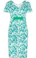 Persona Short Sleeved V-Neck Floral Printed Dress - Lyst