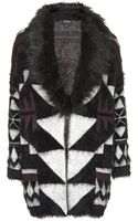 Topshop Womens Graphic Faux Fur Trim Cardigan  Berry Red - Lyst