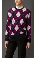 Burberry Cashmere Argyle Sweater - Lyst