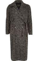 River Island Grey Herringbone Tweed Long Coat - Lyst