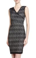 Marc New York By Andrew Marc Pleated Lace Crepe Sheath Dress - Lyst