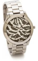 Michael Kors Midnight Safari Slim Runway Watch Silver - Lyst