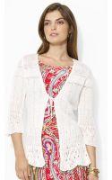 Lauren by Ralph Lauren Pointelleknit Linen Sweater - Lyst