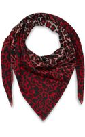 McQ by Alexander McQueen Red and White Animal Print Silk Scarf - Lyst
