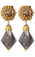 Jose & Maria Barrera Gray Agate Clipon Drop Earrings - Lyst