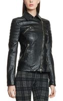 Patrizia Pepe Biker Jacket in Soft Nappa with Quilted Section On The Sleeves - Lyst