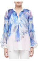 Just Cavalli Watery Printed Silk Blouse Whiteblue - Lyst