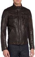 Vince Crinkled Leather Moto Jacket - Lyst