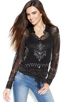 Inc International Concepts Long-sleeve Printed Tie-front Blouse - Lyst
