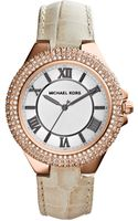 Michael Kors Womens Slim Camille Beige Leather Strap Watch 33mm - Lyst