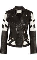 Iro Hyde Paneled Leather Biker Jacket - Lyst