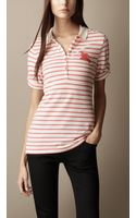 Burberry Slim Stripe Cotton Modal Polo Shirt - Lyst