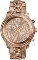 Michael Kors Oversized Rose Golden Stainless Steel Lindley Threehand Glitz Watch - Lyst