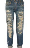 R13 Distressed Mid Rise Boyfriend Jeans - Lyst