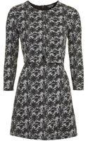 Topshop Jacquard Notch Overlay Dress - Lyst