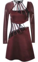 Christopher Kane Burgundy Long Sleeved Abstract Boning Dress - Lyst