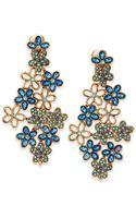 Oscar de la Renta Crystal Daisy Clipon Earrings Blue - Lyst