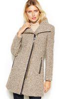 Calvin Klein Asymmetrical Faux Leather Trim Wool Blend Coat - Lyst