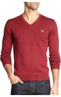 Lacoste Cotton V-neck Sweater - Lyst