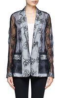 Reed Krakoff Floral Embrodiered Silk Chiffon Blazer - Lyst