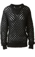 Isabel Marant Black Wool and Mohair Openwork Thomas Pullover - Lyst