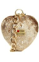 Love Moschino Heart Clutch with Bracelet Chain Strap in Rose - Lyst