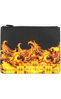 Givenchy Black Leather Flame Zip Pouch - Lyst