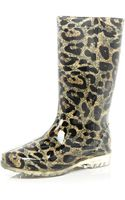 River Island Brown Leopard Print Rubber Boots - Lyst