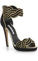 Oscar de la Renta Melinda Suede Metallic Leather Sandals - Lyst
