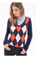 Forever 21 Argyle Vneck Sweater - Lyst