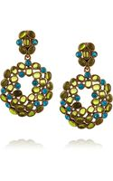Oscar de la Renta Gold Plated Crystal and Resin Earrings - Lyst