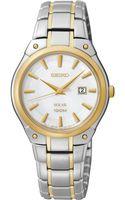 Seiko Womens Solar Twotone Stainless Steel Bracelet Bracelet Watch 30mm Sut128 - Lyst