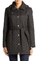 Ellen Tracy Hooded Quilted Jacket - Lyst