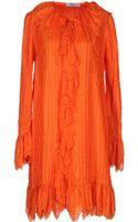 Blumarine Frill Long-Sleeves Silk Short Dress - Lyst