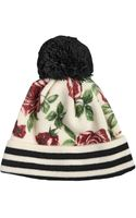 Federica Moretti Rose Printed Wool Hat with Pompom - Lyst