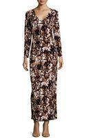 BCBGMAXAZRIA Long Sleeve Spot Print Stretch Knit Maxi Dress Multi Medium - Lyst