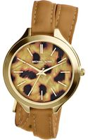 Michael Kors Midsize Tan Leather Runway Threehand Watch - Lyst