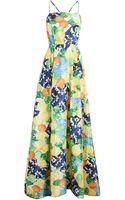 Isolda Citrus Printed Silk Gown - Lyst