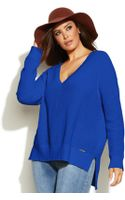 Michael Kors Michael Plus Size Waffle-knit High-low Sweater - Lyst