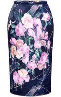 MSGM Floral Print Duchesse Satin Skirt - Lyst