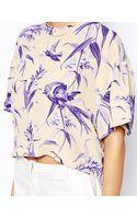 Asos Dip Hem Tshirt in Leaf Print - Lyst