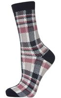 Topshop Checked Ankle Socks - Lyst