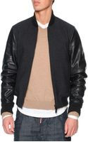 DSquared2 Wool Bomber Jacket with Leather Sleeves - Lyst